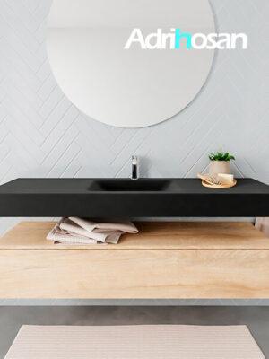 Badkamermeubel met solid surface wastafel model ALAN zwart kast washedoak front 00020 1