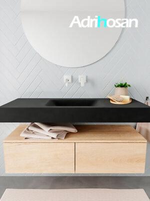 Badkamermeubel met solid surface wastafel model ALAN zwart kast washedoak front 00024 1