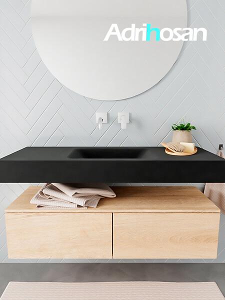 Mueble suspendido ALAN 120 cm de 2 cajones roble lavabo. Encimera con lavabo CLOUD centro sin orificio urban