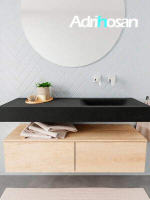 Badkamermeubel met solid surface wastafel model ALAN zwart kast washedoak front 00026 1