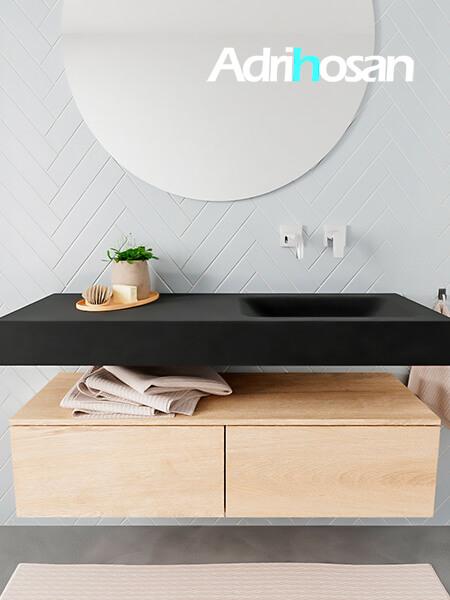 Mueble suspendido ALAN 120 cm de 2 cajones roble lavabo. Encimera con lavabo CLOUD derecha sin orificio urban