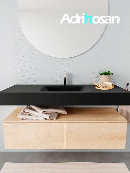 Badkamermeubel met solid surface wastafel model ALAN zwart kast washedoak front 00028 1