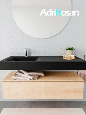 Badkamermeubel met solid surface wastafel model ALAN zwart kast washedoak front 00029 1