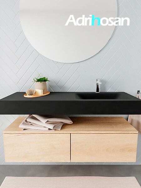 Mueble suspendido ALAN 120 cm de 2 cajones roble lavabo. Encimera con lavabo CLOUD derecha 1 orificio urban