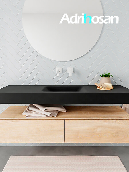 Mueble suspendido ALAN 150 cm de 2 cajones roble lavabo. Encimera con lavabo CLOUD centro sin orificio urban
