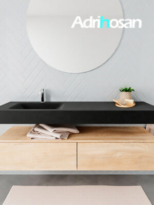 Badkamermeubel met solid surface wastafel model ALAN zwart kast washedoak front 00037 1