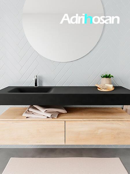 Mueble suspendido ALAN 150 cm de 2 cajones roble lavabo. Encimera con lavabo CLOUD izquierda 1 orificio urban