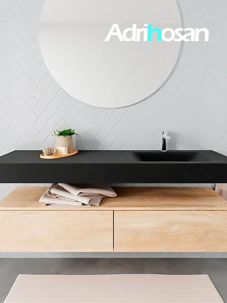 Mueble suspendido ALAN 150 cm de 2 cajones roble lavabo. Encimera con lavabo CLOUD derecha 1 orificio urban