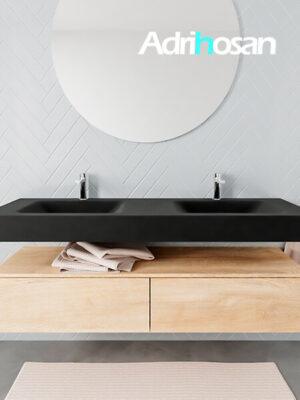Badkamermeubel met solid surface wastafel model ALAN zwart kast washedoak front 00039 1