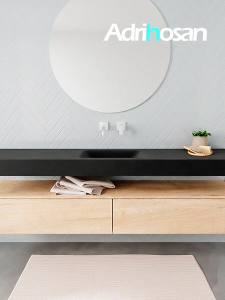 Mueble suspendido ALAN 200 cm de 2 cajones roble lavabo. Encimera con lavabo CLOUD centro sin orificio urban