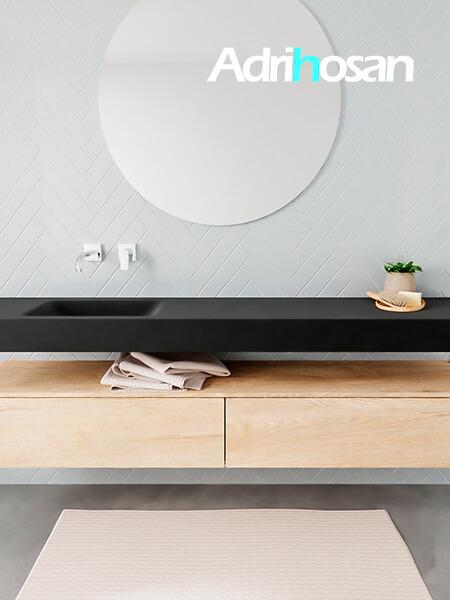 Mueble suspendido ALAN 200 cm de 2 cajones roble lavabo. Encimera con lavabo CLOUD izquierda sin orificio urban