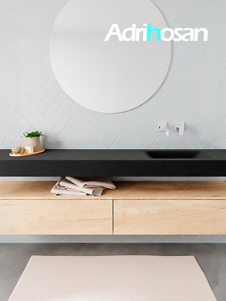 Mueble suspendido ALAN 200 cm de 2 cajones roble lavabo. Encimera con lavabo CLOUD derecha sin orificio urban