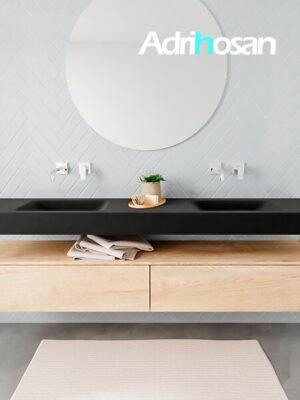 Badkamermeubel met solid surface wastafel model ALAN zwart kast washedoak front 00043 1