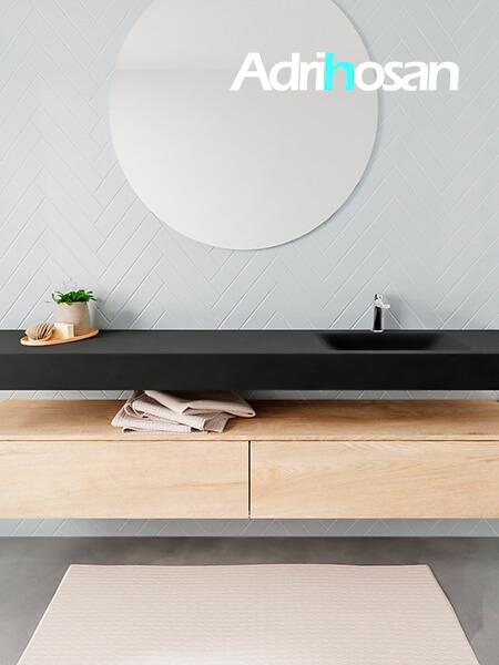 Mueble suspendido ALAN 200 cm de 2 cajones roble lavabo. Encimera con lavabo CLOUD derecha 1 orificio urban