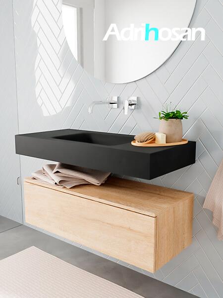 Badkamermeubel met solid surface wastafel model ALAN zwart kast washedoak side 00002 1