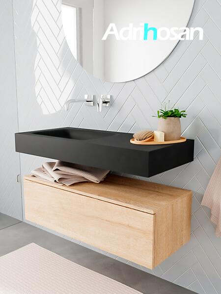 Badkamermeubel met solid surface wastafel model ALAN zwart kast washedoak side 00003 1
