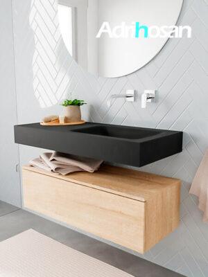 Badkamermeubel met solid surface wastafel model ALAN zwart kast washedoak side 00004 1