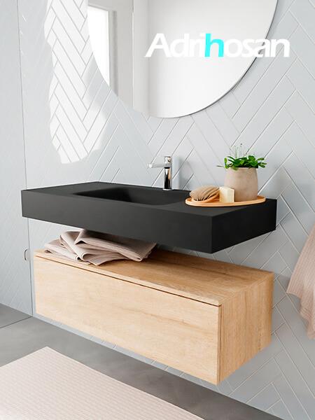 Badkamermeubel met solid surface wastafel model ALAN zwart kast washedoak side 00005 1