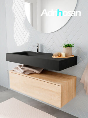 Badkamermeubel met solid surface wastafel model ALAN zwart kast washedoak side 00006 1