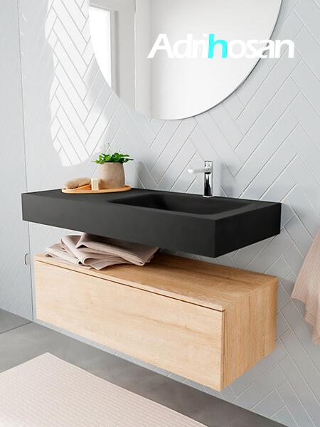Badkamermeubel met solid surface wastafel model ALAN zwart kast washedoak side 00007 1