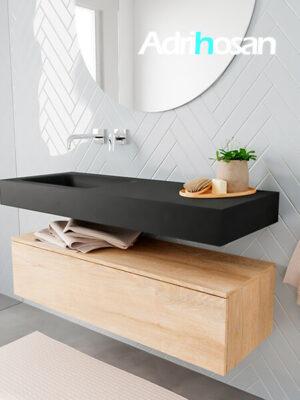 Badkamermeubel met solid surface wastafel model ALAN zwart kast washedoak side 00009 1