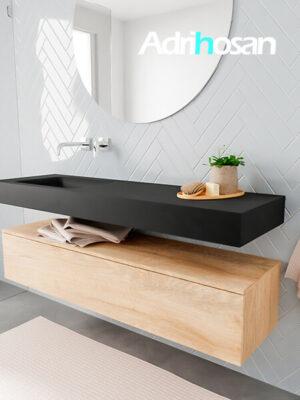 Badkamermeubel met solid surface wastafel model ALAN zwart kast washedoak side 00017 1