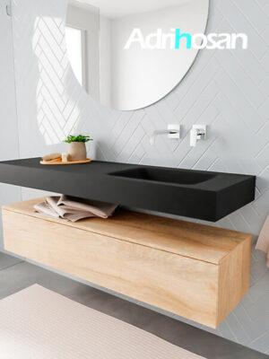 Badkamermeubel met solid surface wastafel model ALAN zwart kast washedoak side 00018 1