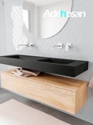 Badkamermeubel met solid surface wastafel model ALAN zwart kast washedoak side 00019 1