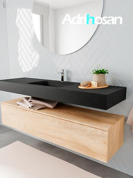 Badkamermeubel met solid surface wastafel model ALAN zwart kast washedoak side 00020 1