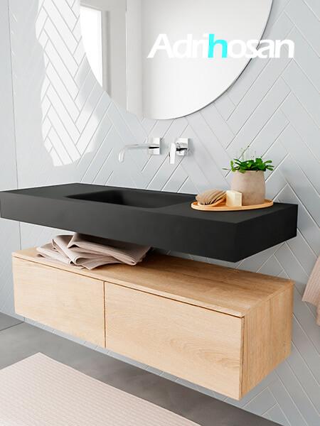 Badkamermeubel met solid surface wastafel model ALAN zwart kast washedoak side 00024 1