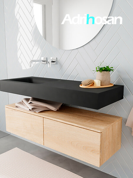 Badkamermeubel met solid surface wastafel model ALAN zwart kast washedoak side 00025 1