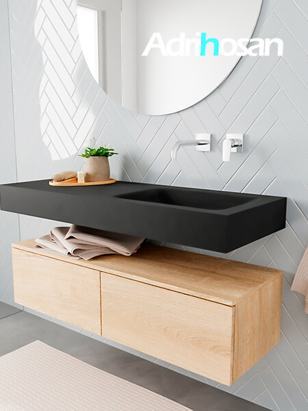 Badkamermeubel met solid surface wastafel model ALAN zwart kast washedoak side 00026 1