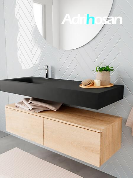 Badkamermeubel met solid surface wastafel model ALAN zwart kast washedoak side 00029 1