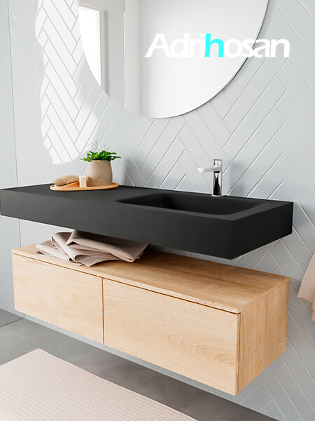 Badkamermeubel met solid surface wastafel model ALAN zwart kast washedoak side 00030 1