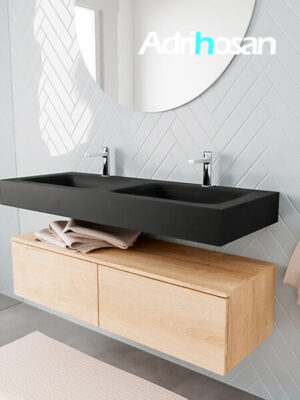 Badkamermeubel met solid surface wastafel model ALAN zwart kast washedoak side 00031 1