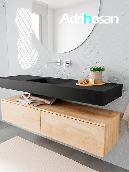 Badkamermeubel met solid surface wastafel model ALAN zwart kast washedoak side 00032 1
