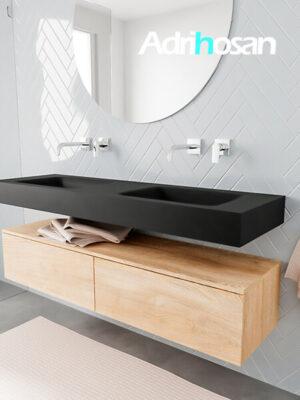 Badkamermeubel met solid surface wastafel model ALAN zwart kast washedoak side 00035 1