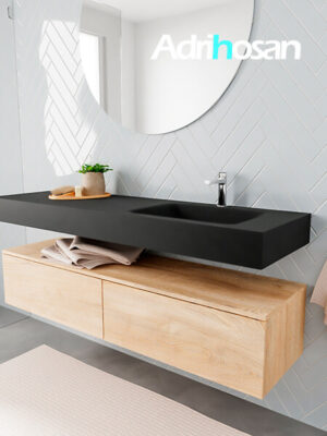 Badkamermeubel met solid surface wastafel model ALAN zwart kast washedoak side 00038 1