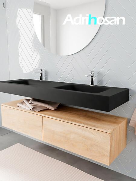 Badkamermeubel met solid surface wastafel model ALAN zwart kast washedoak side 00039 1