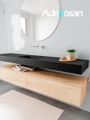 Badkamermeubel met solid surface wastafel model ALAN zwart kast washedoak side 00040 1