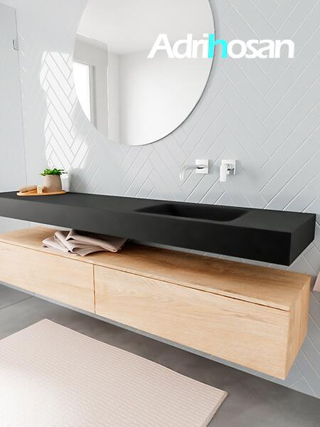 Badkamermeubel met solid surface wastafel model ALAN zwart kast washedoak side 00042 1
