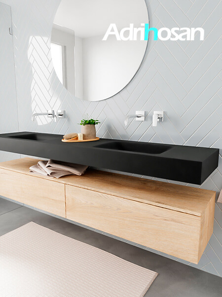 Badkamermeubel met solid surface wastafel model ALAN zwart kast washedoak side 00043 1