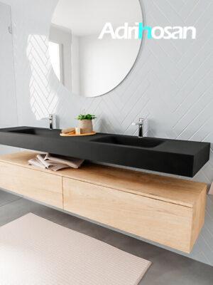 Badkamermeubel met solid surface wastafel model ALAN zwart kast washedoak side 00047 1