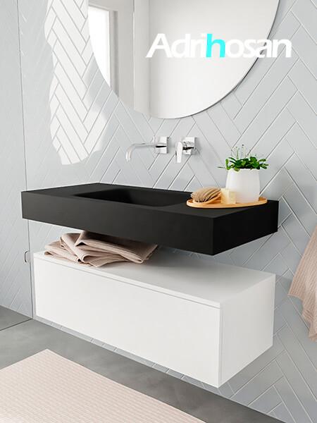Mueble suspendido ALAN 100 cm de 1 cajón blanco mate. Encimera con lavabo CLOUD centro sin orificio urban
