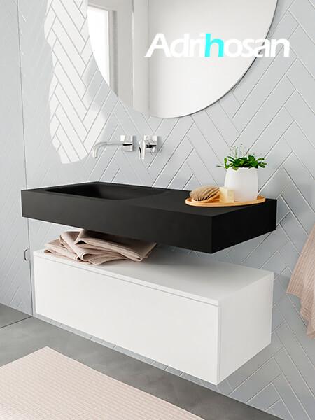 Badkamermeubel met solid surface wastafel model ALAN zwart kast white side 00003 1