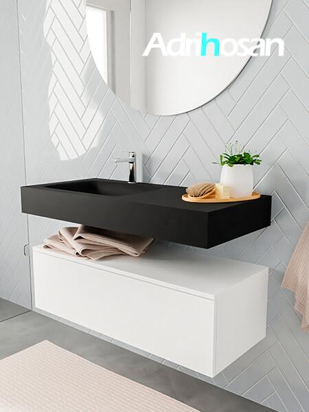 Badkamermeubel met solid surface wastafel model ALAN zwart kast white side 00006 1
