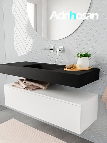 Mueble suspendido ALAN 120 cm de 1 cajón blanco mate. Encimera con lavabo CLOUD centro sin orificio urban