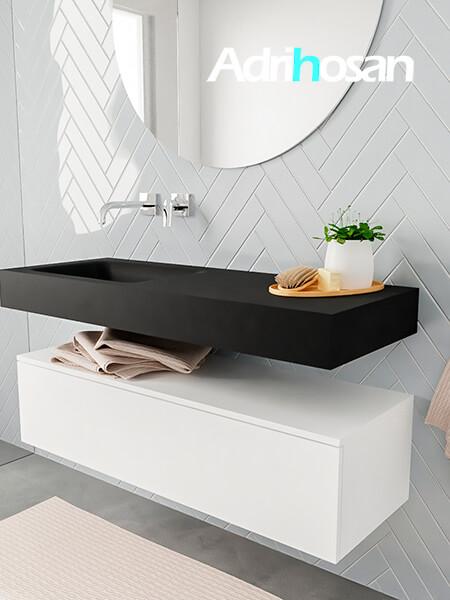 Mueble suspendido ALAN 120 cm de 1 cajón blanco mate. Encimera con lavabo CLOUD izquierda sin orificio urban