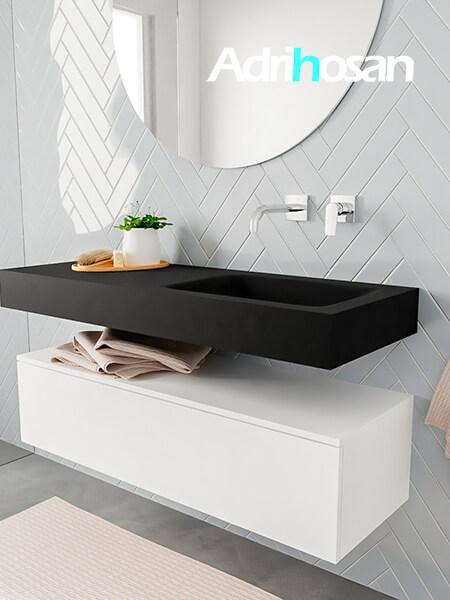 Mueble suspendido ALAN 120 cm de 1 cajón blanco mate. Encimera con lavabo CLOUD derecha sin orificio urban
