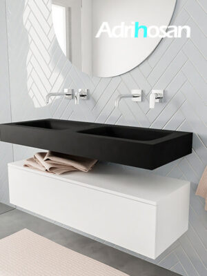 Badkamermeubel met solid surface wastafel model ALAN zwart kast white side 00011 1